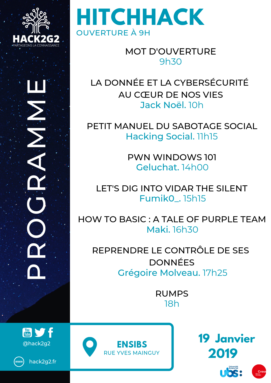 Voici le programme du Hitch Hack 2019